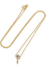 Spike Eye bronze and gold-plated cubic zirconia necklace