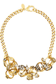 Ringtone gold-plated Swarovski crystal necklace