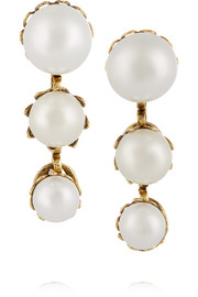 Pearly Queen gold-plated faux pearl earrings