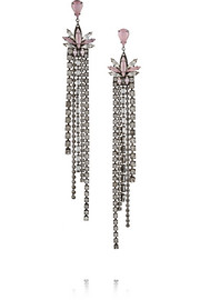 Lady of Lake oxidized gunmetal-tone Swarovski crystal earrings