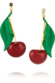 Cherry Pie gold-plated, Swarovski crystal and enamel earrings