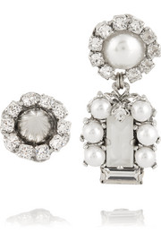 Erickson Beamon I Do silver-plated, Swarovski crystal and faux pearl earrings
