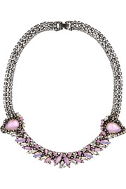 Erickson Beamon Young and Innocent oxidized gunmetal-tone Swarovski crystal necklace