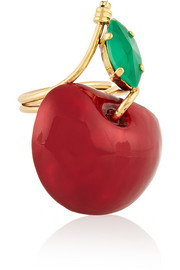 Cherry Pie gold-plated, Swarovski crystal and enamel ring