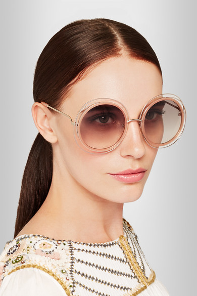 Chloe Carlina round-frame gold-tone sunglasses NET-A ...