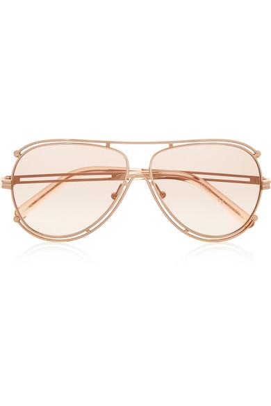 Chloe Aviator Sunglasses  chloé isidora aviator style gold tone sunglasses net a porter com