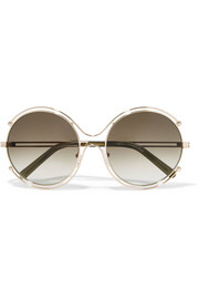 Chloé Isidora round-frame gold-tone and acetate sunglasses
