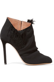 Suede-trimmed fringed chiffon ankle boots
