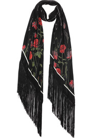 Rose printed silk crepe de chine scarf