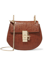 Chloé Drew mini croc-effect leather and suede shoulder bag