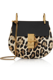Drew mini leather and leopard-print calf hair shoulder bag
