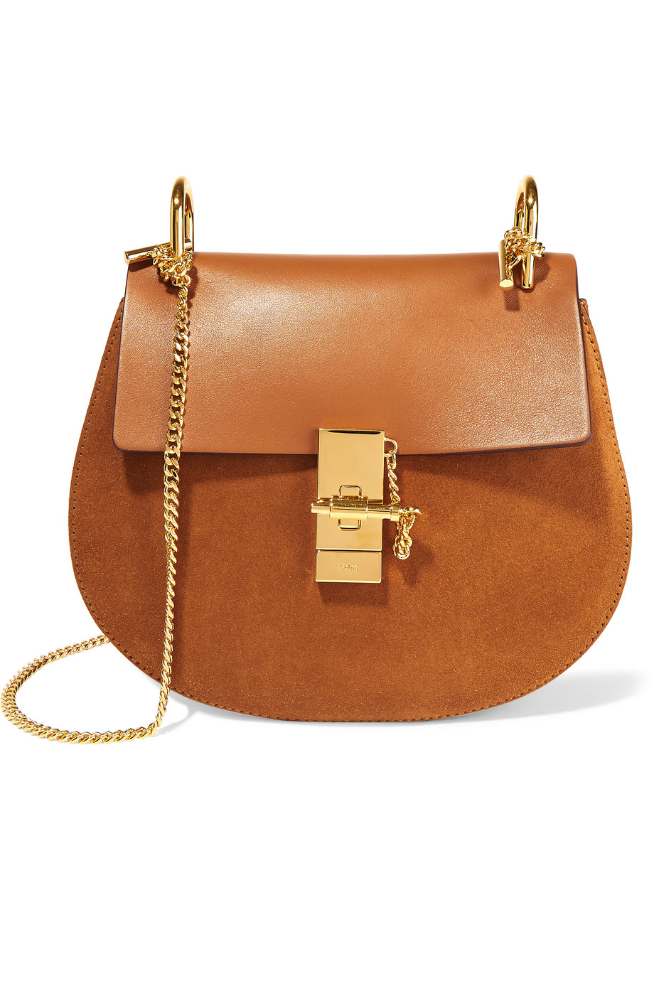 Chloé Drew Small Leather and Suede Shoulder Bag, Camel, Women's
