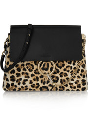Faye medium leopard-print calf hair and leather shoulder bag