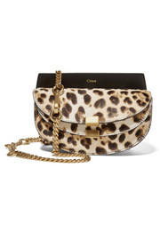 Georgia convertible leopard-print calf hair and leather belt bag