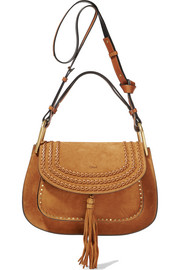 Hudson whipstitched suede shoulder bag