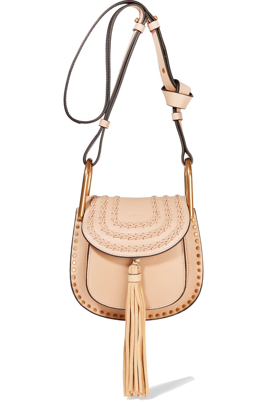 Chloé Hudson Mini Whipstitched Leather Shoulder Bag, Sand, Women's, Size: One Size