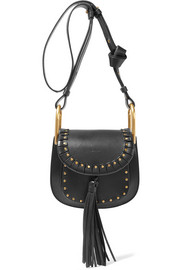 Hudson mini studded textured-leather shoulder bag