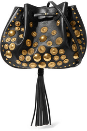 Inez small studded textured-leather shoulder bag