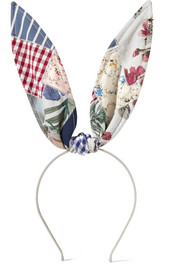 Maison Michel Heidi patchwork cotton bunny ears headband