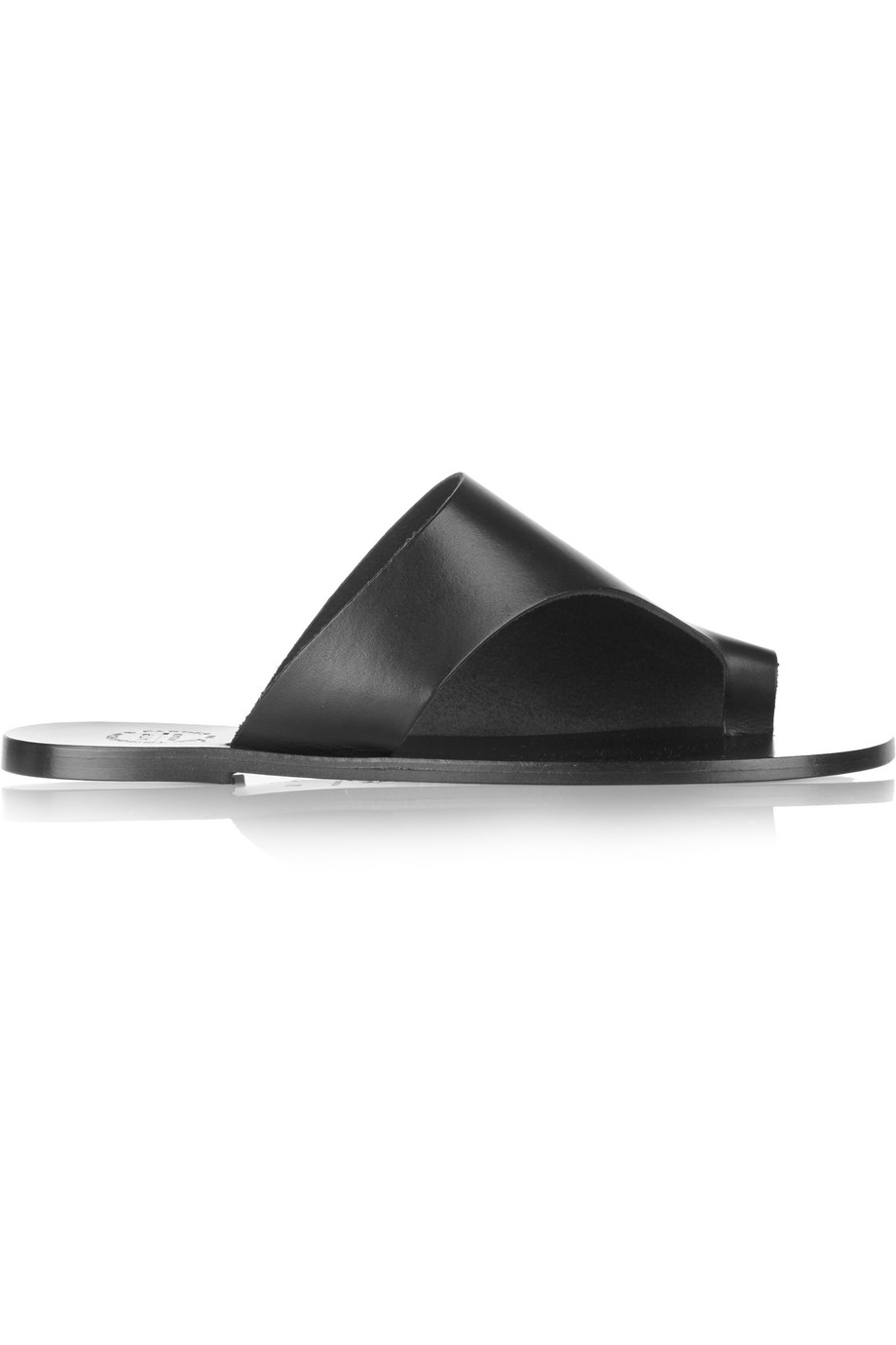 ATP Atelier Rosa Cutout Leather Slides, Black, Women's US Size: 7.5, Size: 38