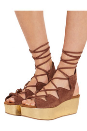 See by Chloé Liane metallic cork and suede wedge sandals