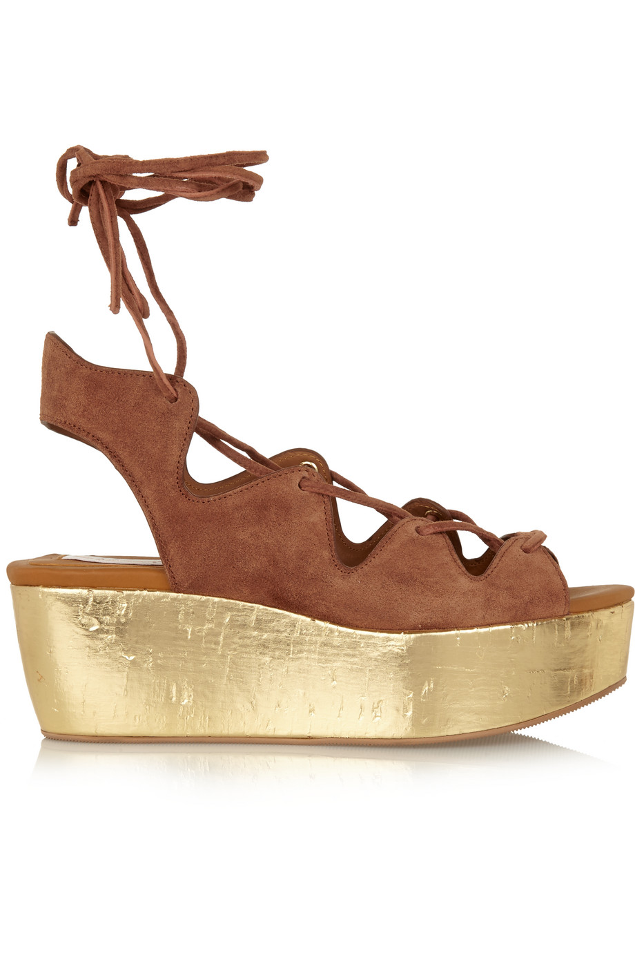 See by Chloé Liane Metallic Cork and Suede Wedge Sandals, Brown/Gold, Women's US Size: 10.5, Size: 41