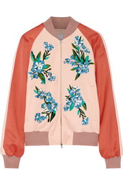Cecily embroidered crepe bomber jacket