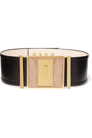 Leather and suede waist belt