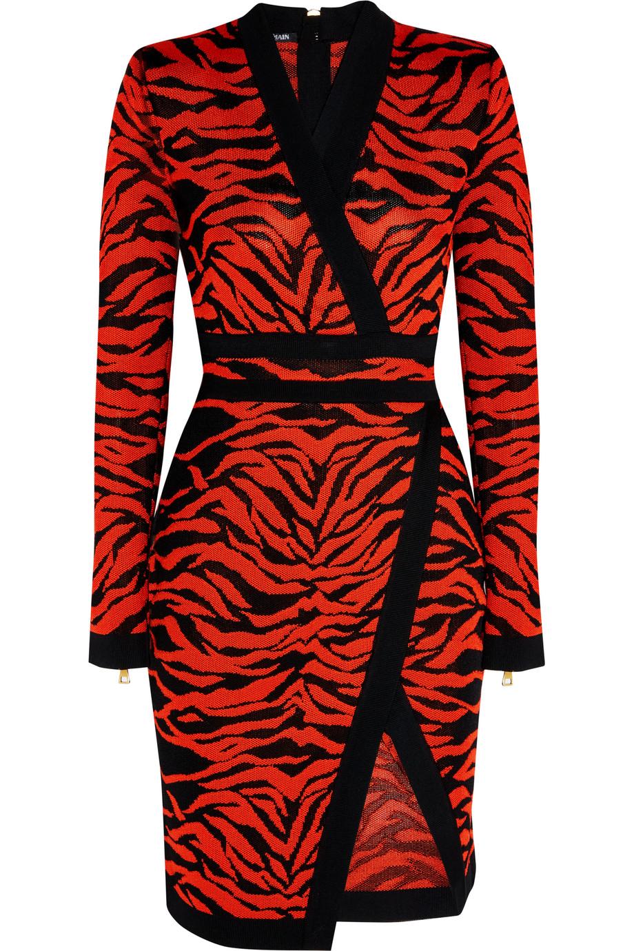 Balmain Wrap-Effect Jacquard-Knit Dress, Red, Women's - tiger, Size: 36