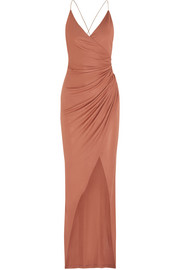 Embellished gathered stretch-jersey maxi dress