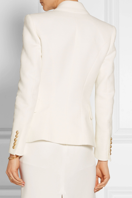 Balmain Double-breasted basketweave cotton blazer
