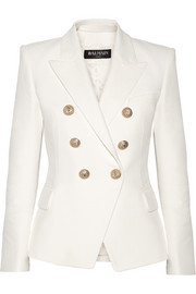 Balmain Double-breasted basketweave cotton blazer
