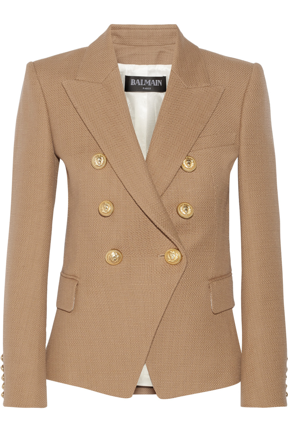 Balmain Double-Breasted Basketweave Cotton Blazer, Tan, Women's, Size: 38