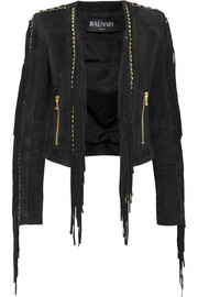 Cropped fringed suede jacket