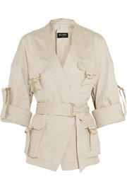 Belted cotton-blend gabardine jacket