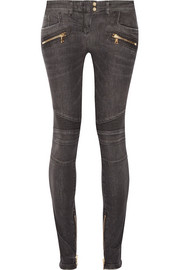 Moto-style distressed low-rise skinny jeans