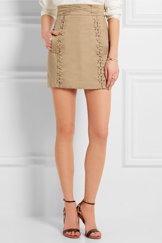 Balmain Mini-jupe en toile de coton stretch à lacets