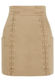 Lace-up stretch-cotton canvas mini skirt