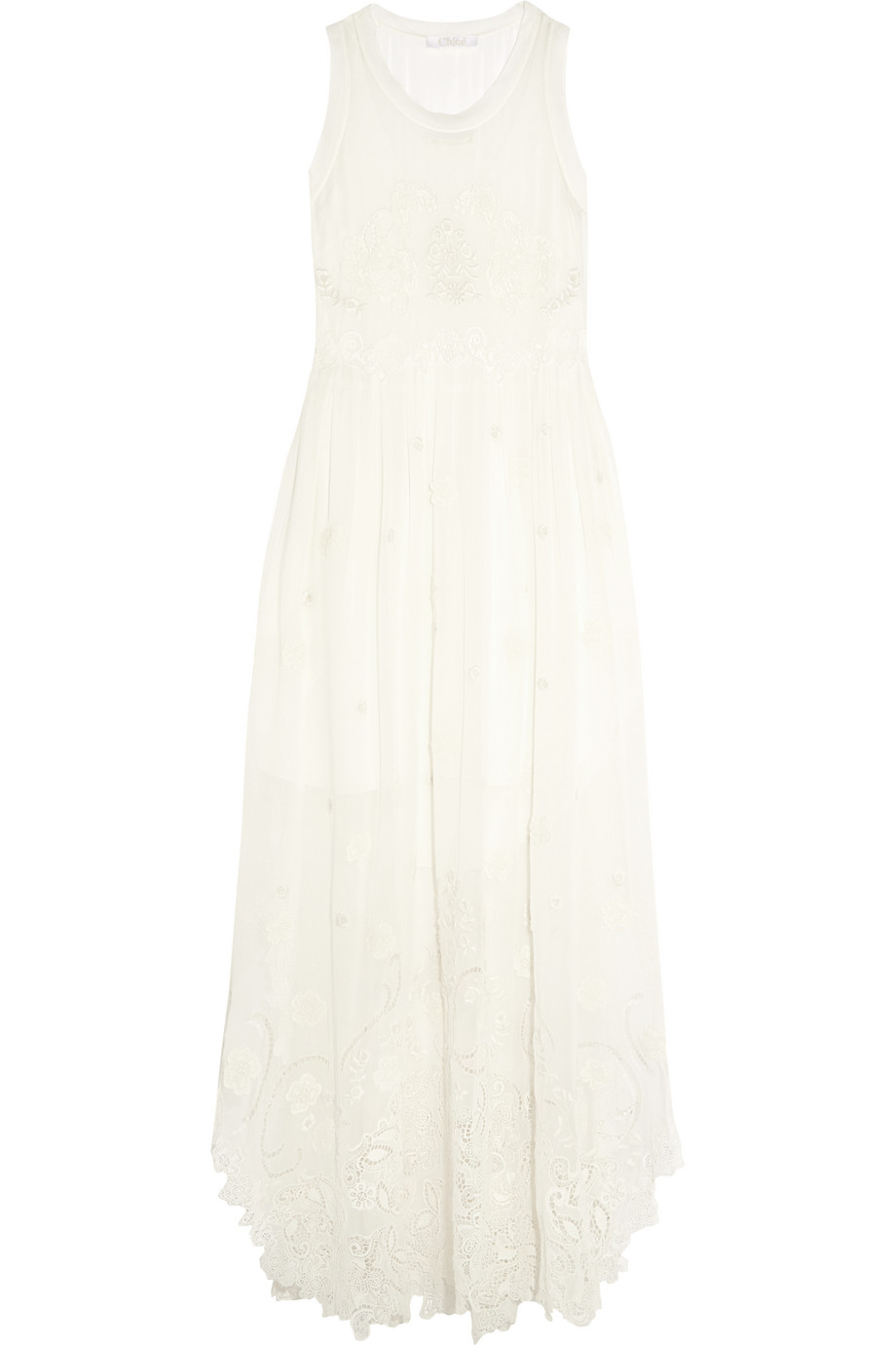 Chloé Embroidered Silk-Mousseline and Guipure Lace Maxi Dress, Ivory, Women's - Embroidered, Size: 40