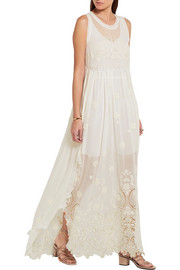 Chloé Embroidered silk-mousseline and guipure lace maxi dress