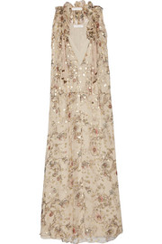 Floral-print fil coupé silk-blend georgette maxi dress