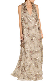Chloé Floral-print fil coupé silk-blend georgette maxi dress