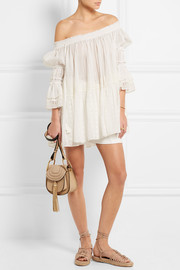 Chloé Off-the-shoulder broderie anglaise cotton-voile top