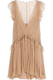 Ruffled silk-chiffon mini dress
