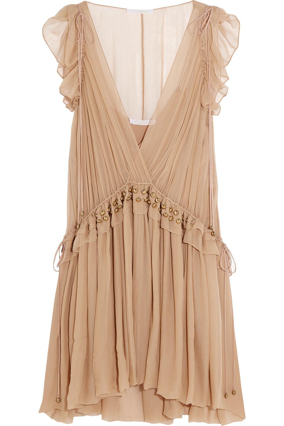 Chloé Ruffled Silk-Chiffon Mini Dress, Blush, Women's, Size: 38
