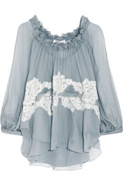 Ruffled lace-appliquéd silk-crepon blouse