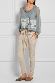 Chloé Ruffled lace-appliquéd silk-crepon blouse