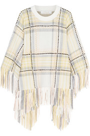 Fringed wool and cashmere-blend poncho