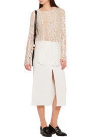 Chloé Cotton-blend tulle-trimmed lace blouse