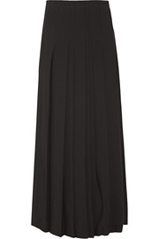 Pleated cady wrap maxi skirt